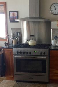 Aga Pro+ dual fuel oven range and hood