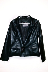 A new women's faux leather jacket.