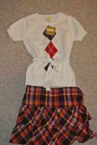 Brand New With Tags Girls Crazy Eight Skirt and Sweater Set