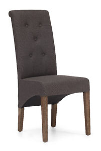 BEIGE AND CHARCOAL GRAY FABRIC DINING CHAIR