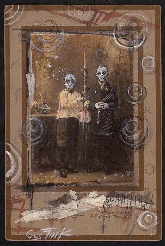 Gus Fink Art Original Goth Horror Lowbrow Helnwein Antique Religion Alter Boys