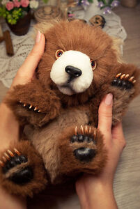 Realistic-teddy-bear-artist-bear-cub-ooak-bear-with-paws-claws-10in-cinnamon