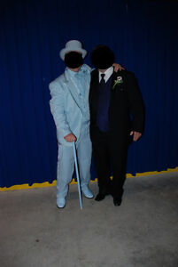 Dumb and Dumber Power Blue Tux Shoes Hat Cane and Socks-Quality