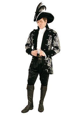 LONG JOHN SILVER COLONIAL PIRATE RENAISSANCE PRINCE COSTUME COAT JACKET (Black Pirate Coat Kostüm)