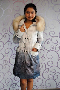 NEW Winter down filled coat with Fur on hood size M never worn