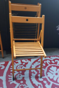 set of 3 wood folding chairs