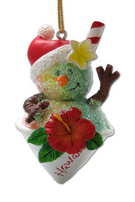 Hawaiian Christmas Poly Resin Ornaments Santa Shave Ice Snowman Hibiscus Hawaii - Hawaiian Christmas Ornaments