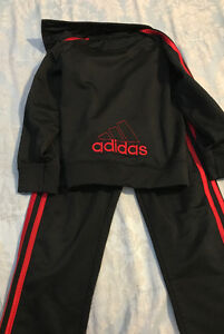 Size 5 red and black adidas suit