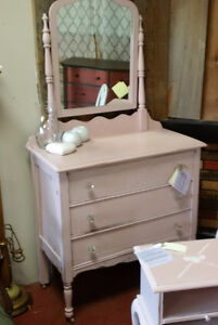 Vintage Pink Dresser with Mirror, night table and Chair