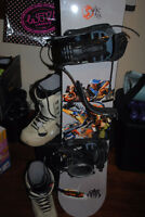 MENS SIMS 151 snowboard/bindings and BURTON boots size 11.5