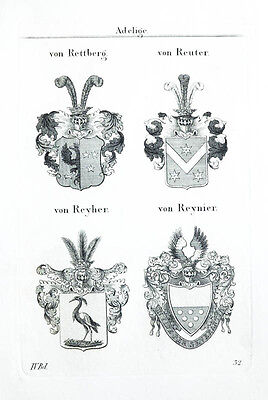 1837 4 Wappen von Rettberg Reuter Reyher Reynier Kupferstich Tyroff