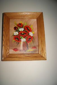 VINTAGE 8X10 OIL PAINTING RED FLOWERS