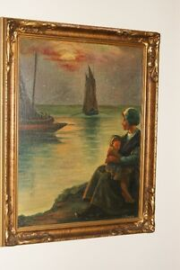 Vintage 1930s oil on board painting mother child river boat