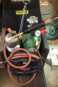 Oxy Acetylene Tanks w/ Caddy, Hoses, Torch & Regulators