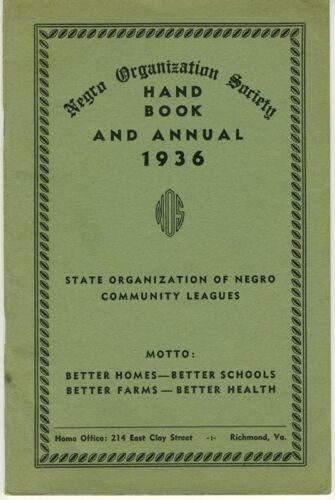 Negro Organization Society Hand Book 1936 - Negro Community Leagues