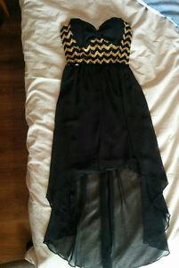 Short/Long Black Gold Dress