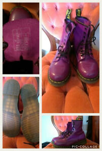 * New Price * Purple Leather Dr. Martens - Size 8 (fit like a 9)