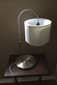Silver and linen table lamp