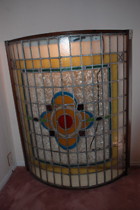Rare Antique British Victorian Stained Glass Skylight