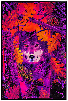 Opticz Autumn Wolf Blacklight Reactive Poster Blacklight Poster Print, 23x35