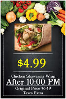 chicken shawarma wrap ONLY $4.99 after 10:00 PM