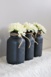 Painted + Distressed Mason Jars, Wood Planter Boxes, BRAND NEW