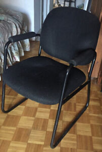 Padded black office chair.