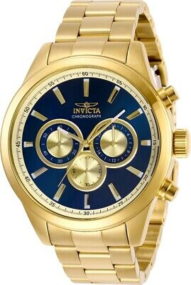 Invicta Men's Watch Specialty Quartz Chronograph Blue & Gold Tone Dial 29175
