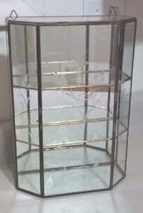 Vintage Three 3 Tier Glass and Brass Curio Cabinet