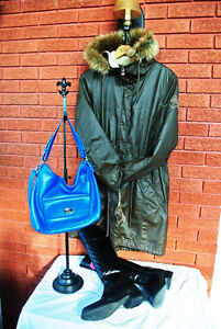 NEW Coat SOLD, Leather Boots $25, Leather Purse $ 20
