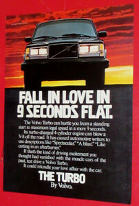 COOL 1983 VOLVO TURBO 240 VINTAGE CAR AD - RETRO AUTO PUBLICITE