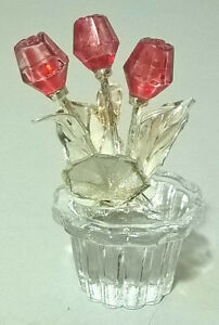 Crystal Glass Flower Pot with Roses Miniature
