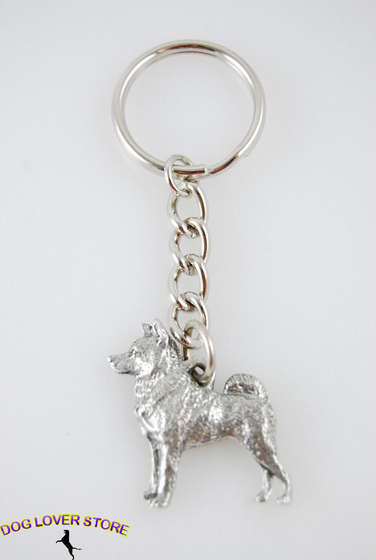 Norwegian Elkhound Keychain Pewter