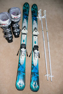 Women's Downhill skis, boots & poles
