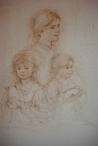 """Mother and Two Children"" by Edna Hibel Kitchener / Waterloo Kitchener Area image 1"