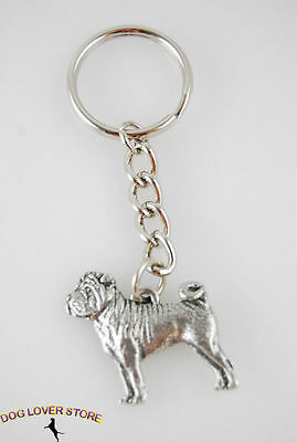 Shar-Pei Dog Fine Pewter Silver Keychain Key Chain Ring
