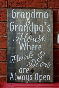 "HAND PAINTED ""GRANDPARENTS"" RUSTIC WOOD SIGN"
