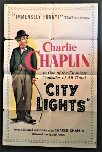 City Lights Original Movie Poster - Charlie Chaplin    *Hollywood Posters*