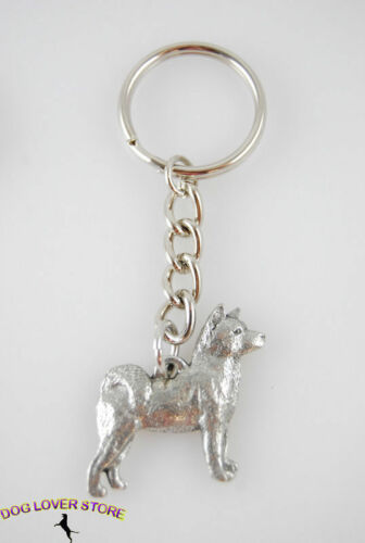 Akita Keychain Pewter Silver Key Chain Ring