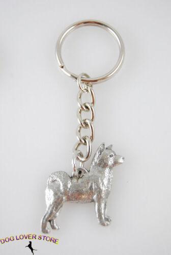 Akita Keychain Pewter Silver Key Chain Ring
