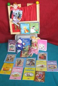 Medieval Dolls/Puppets,Puppet Stand & 16 Fairy Tale Books