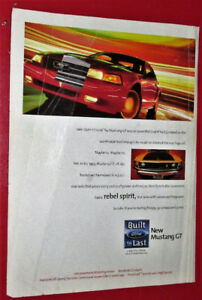 RETRO 1999 FORD MUSTANG GT CAR AD + CADILLAC CATERA ON BACK