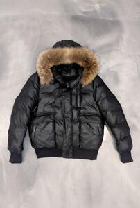 Mackage Joey Bomber Jacket Parka Down Fur Size 44 Large Black