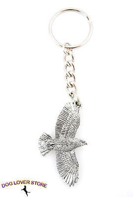 Redtail Hawk Flying Bird Keychain Pewter