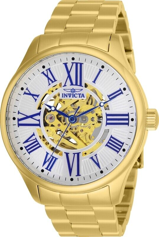Invicta 27556 Mens Objet D Art Automatic 3 Hand Silver Dial Watch with Gold Tone