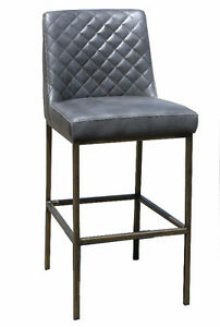 Grey Leather Bar Counter Stool with Bronze Steel Frame