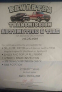 $30 for $100 worth of auto service at Kawartha Transmission