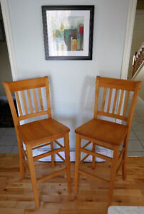 Bar/counter chairs - solid birch