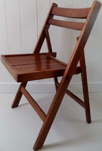 Mid C. SLATTED Wood FOLDING Chair BRASS