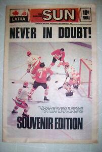 1972  CANADA / RUSSIA  HOCKEY  SERIES  NEWSPAPER